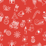 New Year doodles seamless pattern vector Royalty Free Stock Images