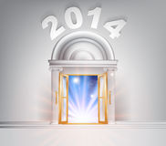 New Year Door 2014. Concept of a fantastic white marble door with columns with light streaming through it stock illustration