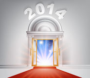 New Year Door 2014 Concept. Of a fantastic white marble door with columns and a red carpet with light streaming through it Stock Images