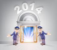 New Year Door 2014 and Doormen Stock Photo