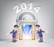 New Year Door 2014 and Doormen. New Year Door 2014 concept of a doormen hoding open a door to the new year with light streaming through it Stock Photo