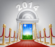 New Year Door 2014. A VIP door opening to reveal a sunrise and beautiful green landscape. Perhaps a concept for hope for the future Stock Photography