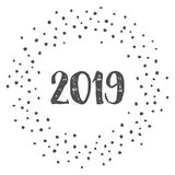 New Year 2019 with dots  on white background Stock Images