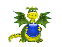 New Year Dragon. Cute little green dragon with New Year ball stock illustration
