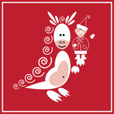 New Year of the Dragon. Illustration of Santa Claus with the dragon on the red background Stock Image