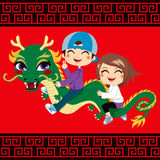 New Year Dragon Ride. Two children having fun riding chinese new year dragon friend royalty free illustration