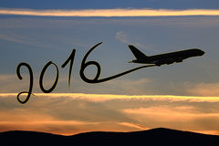 New year 2016 drawing by airplane Stock Images