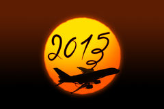 New year 2015 drawing by airplane Stock Image