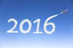 New year 2016 drawing by airplane in the sky Royalty Free Stock Photo