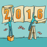 2016 new year drawing. Whimsical drawing to bring in the 2016 new year  for web or print use Royalty Free Stock Photo