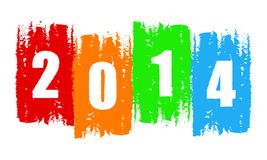 New year 2014 in drawn colorful banner. Holiday concept stock illustration
