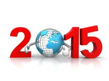 New year 2015. With earth Royalty Free Stock Photo