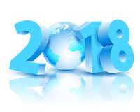 New Year 2018 with Earth Planet Royalty Free Stock Images