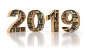 2019 new year education concept. Bookshelvs with books in the fo. Rm of text 2019. 3d illustration vector illustration