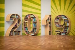 2019 new year education concept. Bookshelvs with books in the fo. Rm of text 2019. 3d illustration royalty free illustration