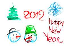 New Year Elements. Cute Watercolor New Year 2012 Decoration Set Royalty Free Stock Photo