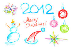 New Year Elements. Cute Color Pencil Christmas 2012 Decoration Set Stock Images