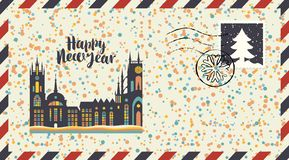 New year envelope with old european city. Vector envelope on the theme of Christmas and New year with postage stamp and postmark. Winter old european city with royalty free illustration