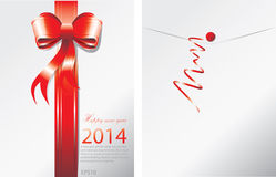 New Year 2014 envelope. Red Ribbon on envelope for New year card Royalty Free Stock Images