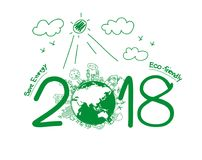 2018 new year in environmental and eco-friendly Stock Image