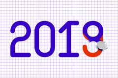 2019 New Year. Eraser erases a number 8, under which red the number 9. Background - page from a school squared notebook. 31 Decemb. 2019 New Year. Celebration Stock Image