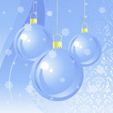 New Year eve background. New Year eve light-blue background with hanging balls vector illustration