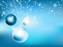 New Year eve background. New Year eve blue background with hanging celebration balls and snowflakes. Have used mesh stock illustration