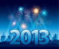 New Year Eve background. 2013 New Year background with fireworks EPS 10 Royalty Free Stock Photo