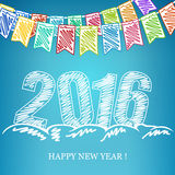 2016  New Year Eve Background. 2016 Merry Christmas and Happy New Year, New Year Eve Background, Holiday Multicolored Bunting Flags and the Year 2016 in the Stock Image