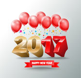 2017 New Year Eve with balloons design for New Year greeting c. Ard and poster New Year 2017. Vector illustration Royalty Free Stock Photography
