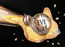 New year eve banner with glass with pouring out champagne and christmas balls. Royalty Free Stock Photo