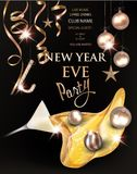 New year eve banner with glass with pouring out champagne and christmas decorations. Vector illustration stock illustration
