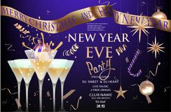 New year eve banner with glasses with cocktail and christmas decorations. Gold and purple. Vector illustration royalty free illustration