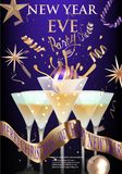 New year eve banner with glasses with cocktail and christmas decorations. Royalty Free Stock Photos