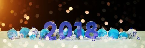 2018 new year eve with christmas baubles and candles 3D renderin. 2018 new year eve with blue and white christmas baubles and candles 3D rendering Royalty Free Stock Photos
