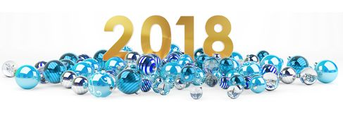 2018 new year eve with christmas baubles 3D rendering. 2018 new year eve with blue and white christmas baubles 3D rendering Royalty Free Stock Images