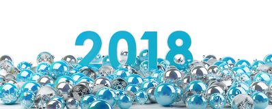 2018 new year eve with christmas baubles 3D rendering. 2018 new year eve with blue and white christmas baubles 3D rendering Stock Images