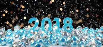 2018 new year eve with christmas baubles 3D rendering. 2018 new year eve with blue and white christmas baubles 3D rendering Royalty Free Stock Photo