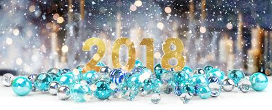 2018 new year eve with christmas baubles 3D rendering. 2018 new year eve with blue and white christmas baubles 3D rendering Royalty Free Stock Photography