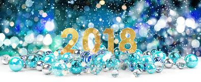 2018 new year eve with christmas baubles 3D rendering. 2018 new year eve with blue and white christmas baubles 3D rendering Stock Photos