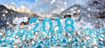2018 new year eve with christmas baubles 3D rendering. 2018 new year eve with blue and white christmas baubles 3D rendering Stock Image