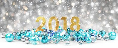 2018 new year eve with christmas baubles 3D rendering. 2018 new year eve with blue and white christmas baubles 3D rendering Royalty Free Stock Photos