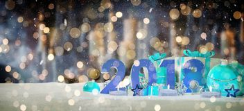 2018 new year eve with christmas baubles and gifts 3D rendering. 2018 new year eve with blue and white christmas baubles and gifts 3D rendering Royalty Free Stock Image