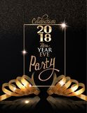 New year eve celebration invitation card with gold realistic ribbons and frame. Stock Photos