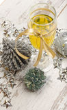 New year eve champagne glass decorations royalty free stock images