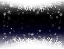 New Year Eve, Christmas background with snowflakes and snow drifts. New Year Eve and Christmas background with snowflakes and snow drifts. Dark color Royalty Free Stock Photo