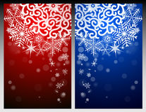 New Year Eve, Christmas background with snowflakes and snow drifts. New Year Eve and Christmas background with snowflakes and snow drifts. Red and blue Royalty Free Stock Photos