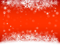 New Year Eve, Christmas background with snowflakes and snow drifts. New Year Eve and Christmas background with snowflakes and snow drifts. Red color Royalty Free Stock Photo