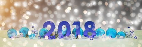 2018 new year eve with christmas baubles and candles 3D renderin. 2018 new year eve with blue and white christmas baubles and candles 3D rendering Stock Photography