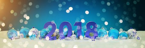 2018 new year eve with christmas baubles and candles 3D renderin. 2018 new year eve with blue and white christmas baubles and candles 3D rendering Stock Image